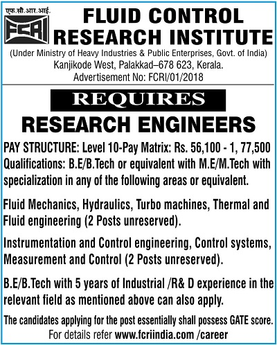FCRI invites applications for recruitment to the post of Research Engineer